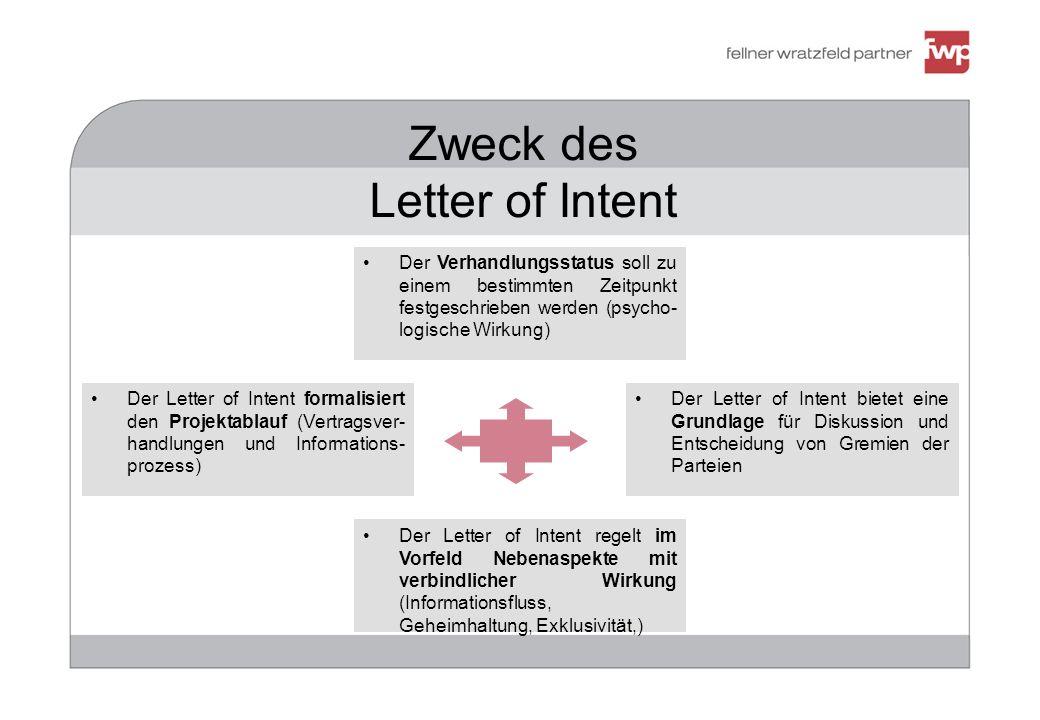 383947 Zweck des Letter of Intent Der Letter of Intent formalisiert den Projektablauf (Vertragsver- handlungen und Informations- prozess) Der Letter o