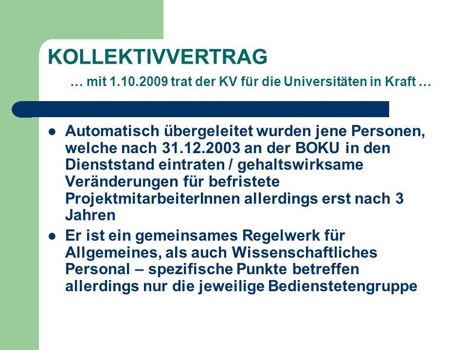 KOLLEKTIVVERTRAG … mit 1.10.2009 trat der KV für die Universitäten in Kraft … Automatisch übergeleitet wurden jene Personen, welche nach 31.12.2003 an