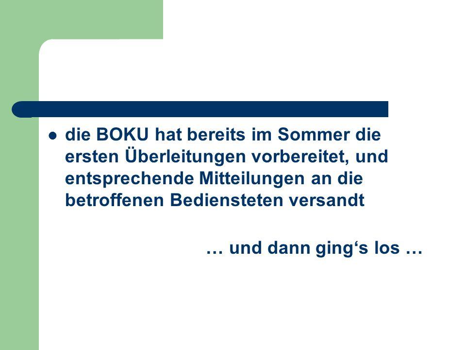 die BOKU hat bereits im Sommer die ersten Überleitungen vorbereitet, und entsprechende Mitteilungen an die betroffenen Bediensteten versandt … und dan