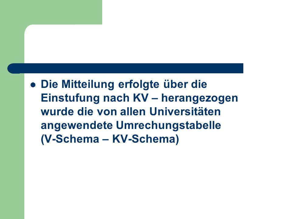 Die Mitteilung erfolgte über die Einstufung nach KV – herangezogen wurde die von allen Universitäten angewendete Umrechungstabelle (V-Schema – KV-Sche