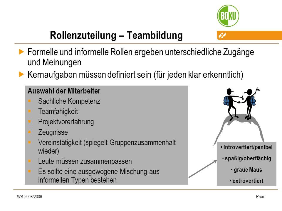 WS 2008/2009Prem Rollenzuteilung – Teambildung Formelle und informelle Rollen ergeben unterschiedliche Zugänge und Meinungen Kernaufgaben müssen defin