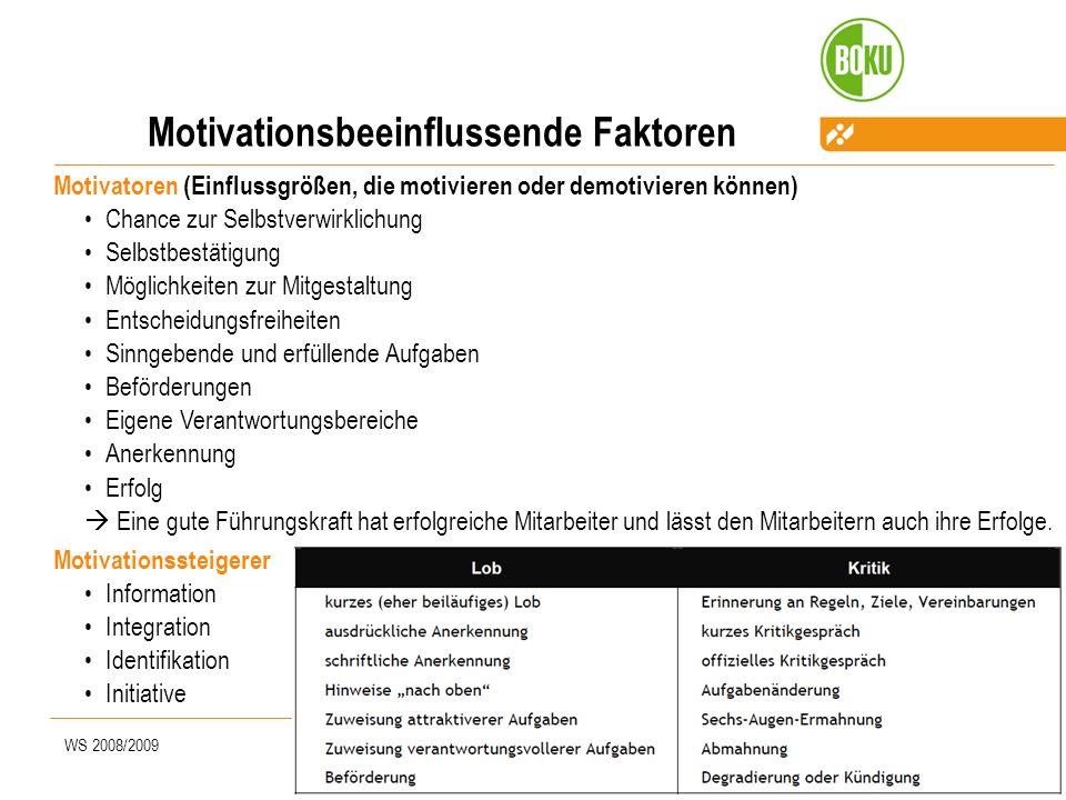 WS 2008/2009Prem Motivationsbeeinflussende Faktoren Motivatoren (Einflussgrößen, die motivieren oder demotivieren können) Chance zur Selbstverwirklich