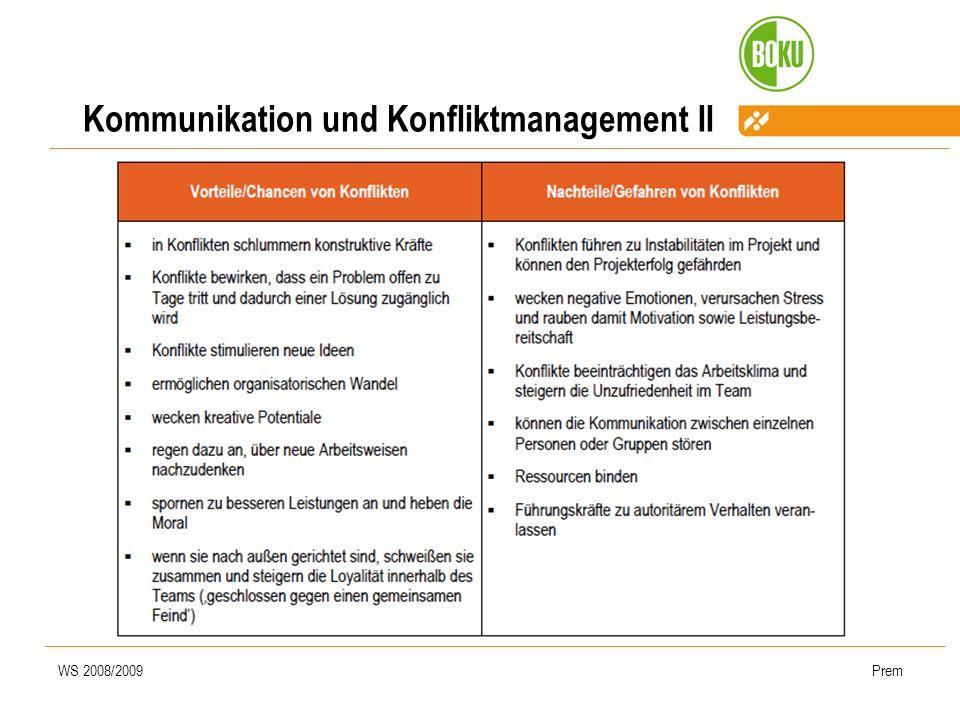 WS 2008/2009Prem Kommunikation und Konfliktmanagement II