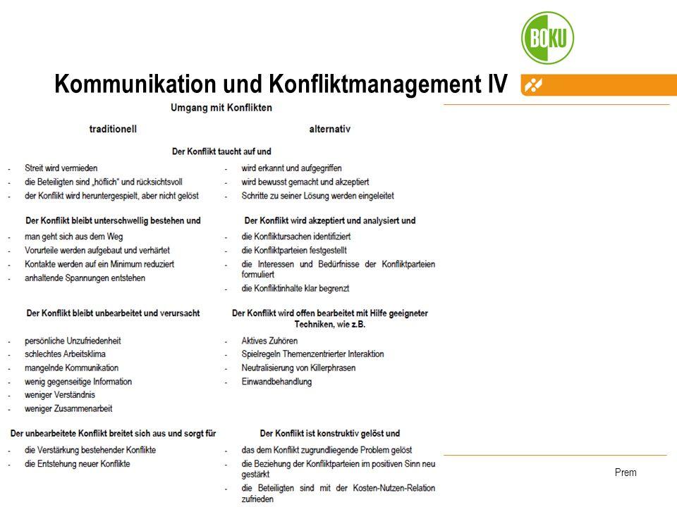 WS 2008/2009Prem Kommunikation und Konfliktmanagement IV