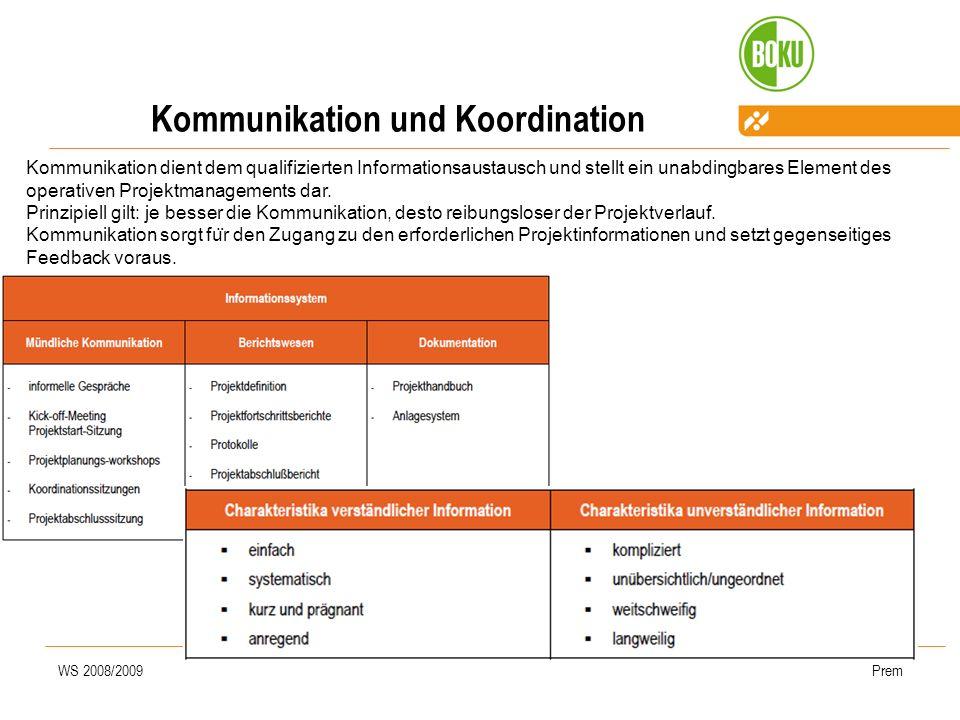 WS 2008/2009Prem Kommunikation und Koordination Kommunikation dient dem qualifizierten Informationsaustausch und stellt ein unabdingbares Element des