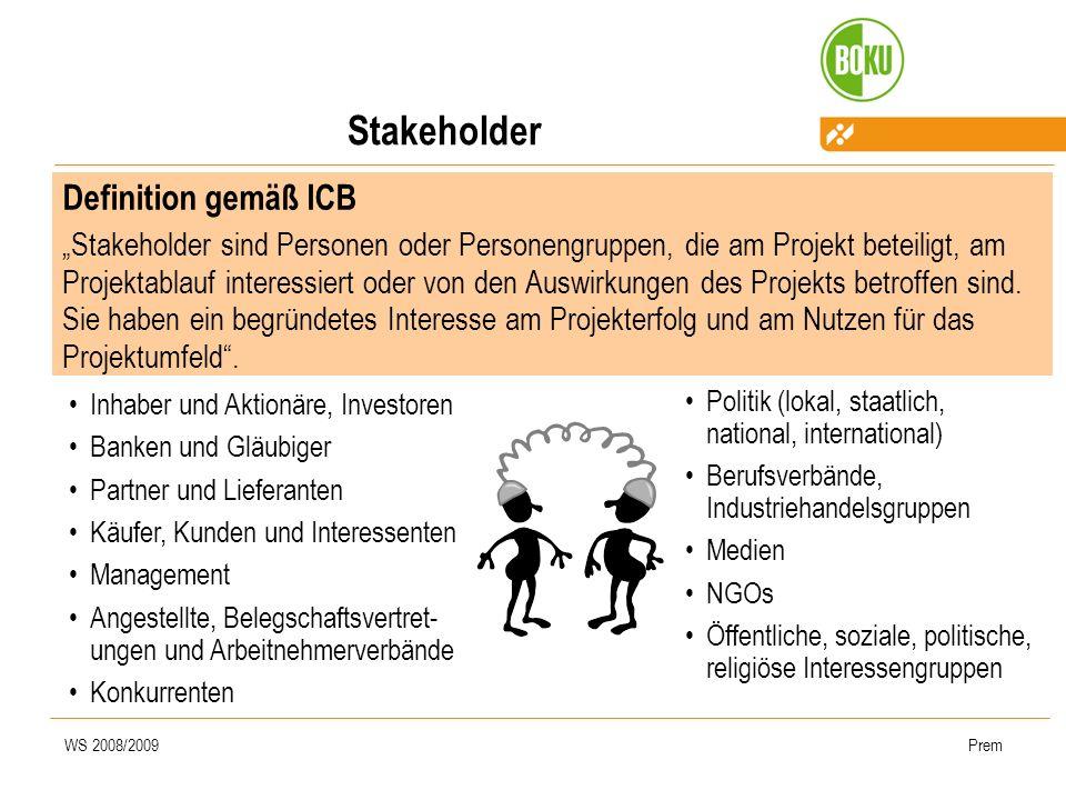 WS 2008/2009Prem Stakeholder Definition gemäß ICB Stakeholder sind Personen oder Personengruppen, die am Projekt beteiligt, am Projektablauf interessi