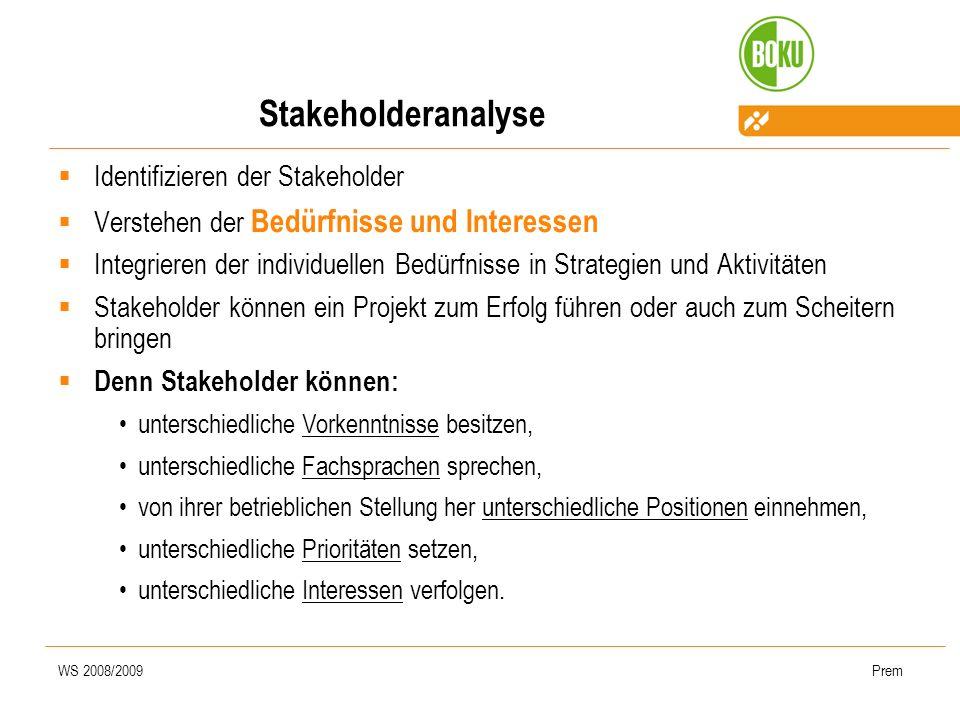 WS 2008/2009Prem Stakeholderanalyse Identifizieren der Stakeholder Verstehen der Bedürfnisse und Interessen Integrieren der individuellen Bedürfnisse