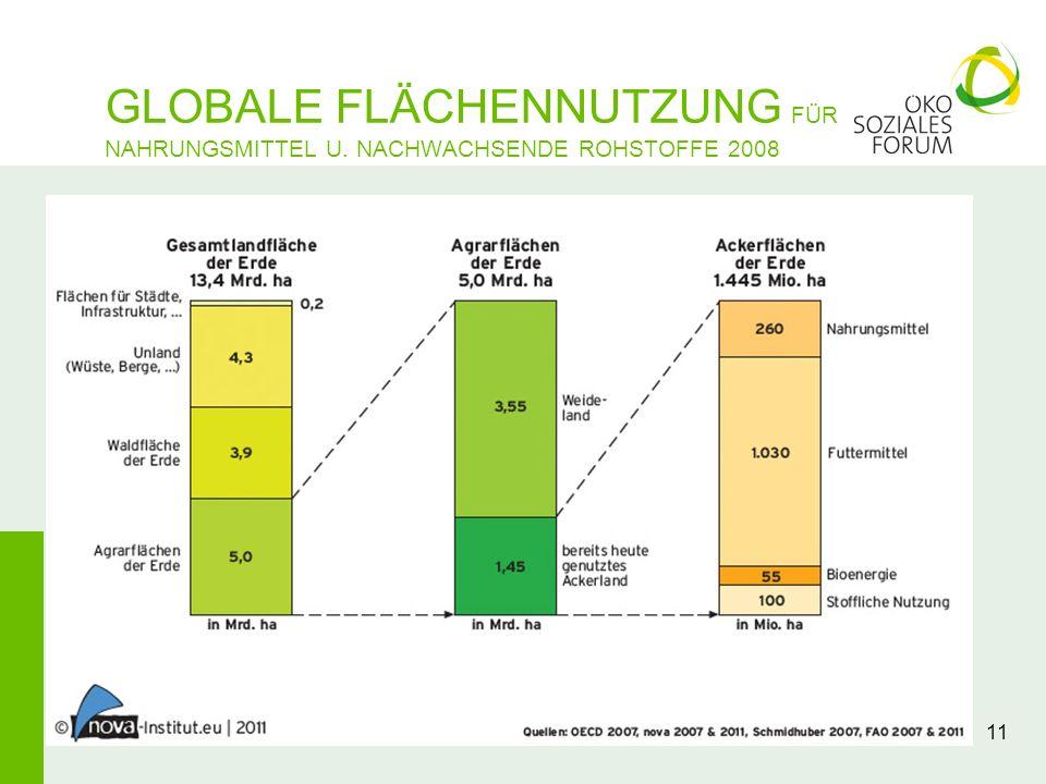 11 GLOBALE FLÄCHENNUTZUNG FÜR NAHRUNGSMITTEL U. NACHWACHSENDE ROHSTOFFE 2008