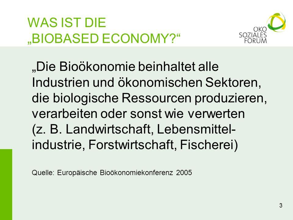 WAS IST DIE BIOBASED ECONOMY? 3 Die Bioökonomie beinhaltet alle Industrien und ökonomischen Sektoren, die biologische Ressourcen produzieren, verarbei