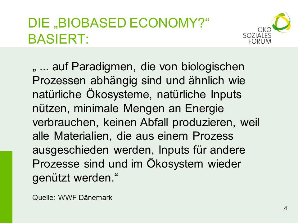 DIE BIOBASED ECONOMY? BASIERT: 4... auf Paradigmen, die von biologischen Prozessen abhängig sind und ähnlich wie natürliche Ökosysteme, natürliche Inp
