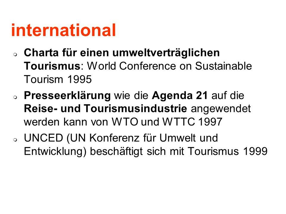 international Charta für einen umweltverträglichen Tourismus: World Conference on Sustainable Tourism 1995 Presseerklärung wie die Agenda 21 auf die R