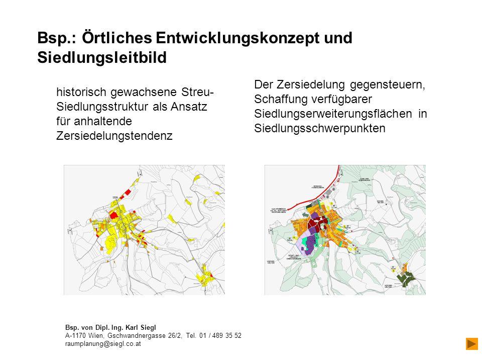 historisch gewachsene Streu- Siedlungsstruktur als Ansatz für anhaltende Zersiedelungstendenz Der Zersiedelung gegensteuern, Schaffung verfügbarer Siedlungserweiterungsflächen in Siedlungsschwerpunkten Bsp.