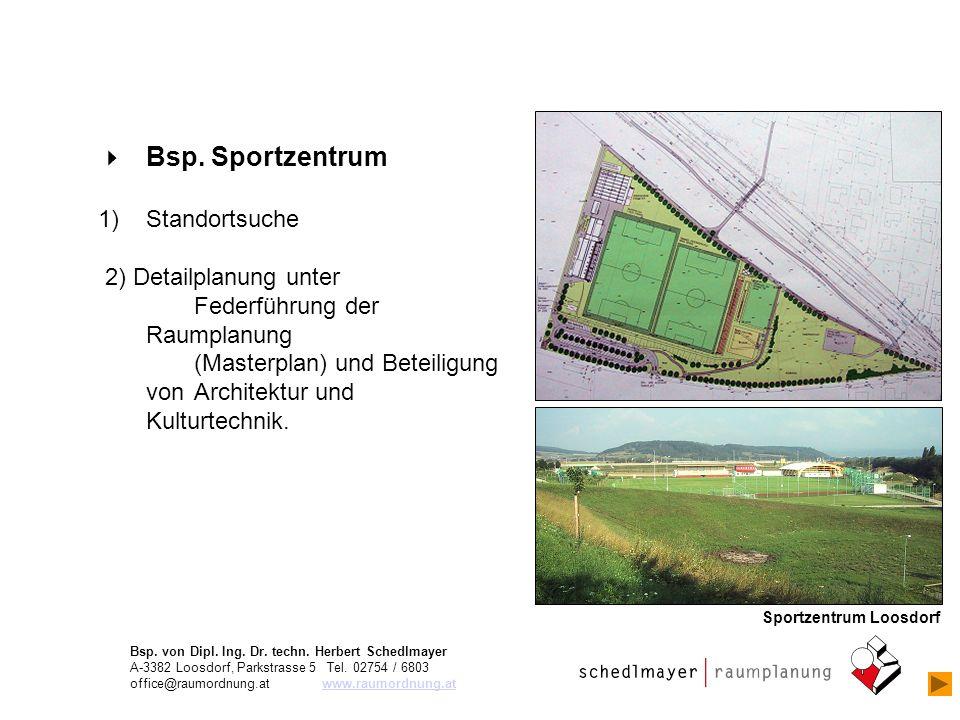 Bsp. Sportzentrum 1)Standortsuche 2) Detailplanung unter Federführung der Raumplanung (Masterplan) und Beteiligung von Architektur und Kulturtechnik.