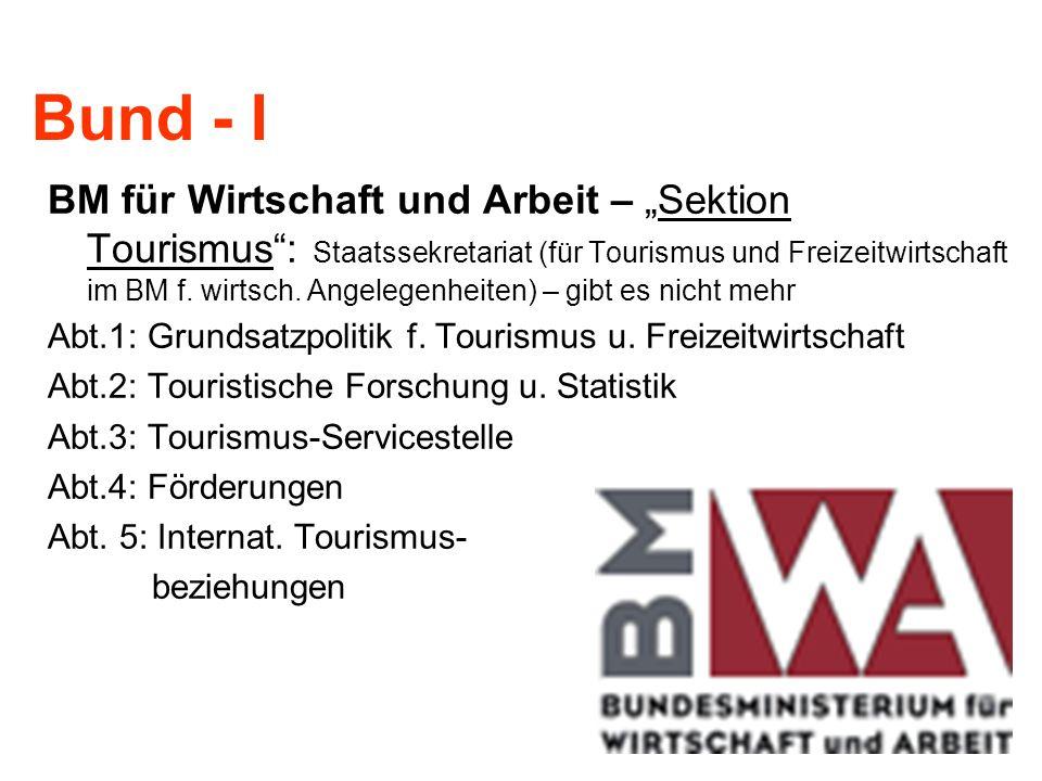 Bund - I BM für Wirtschaft und Arbeit – Sektion Tourismus: Staatssekretariat (für Tourismus und Freizeitwirtschaft im BM f. wirtsch. Angelegenheiten)