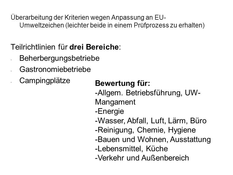 Überarbeitung der Kriterien wegen Anpassung an EU- Umweltzeichen (leichter beide in einem Prüfprozess zu erhalten) Teilrichtlinien für drei Bereiche: