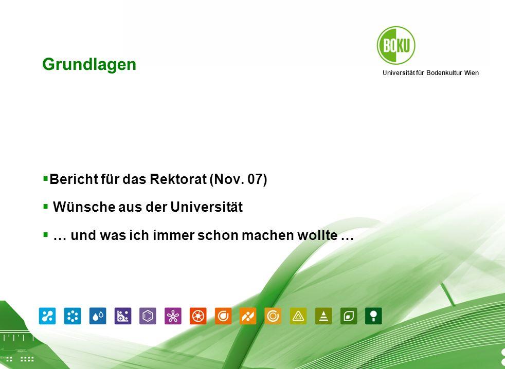 Universität für Bodenkultur Wien BOKU Präsentation 01.04.2008 2 Grundlagen Bericht für das Rektorat (Nov. 07) Wünsche aus der Universität … und was ic