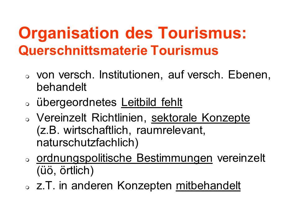 Organisation des Tourismus: Querschnittsmaterie Tourismus von versch. Institutionen, auf versch. Ebenen, behandelt übergeordnetes Leitbild fehlt Verei