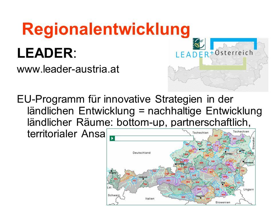 Regionalentwicklung LEADER: www.leader-austria.at EU-Programm für innovative Strategien in der ländlichen Entwicklung = nachhaltige Entwicklung ländli