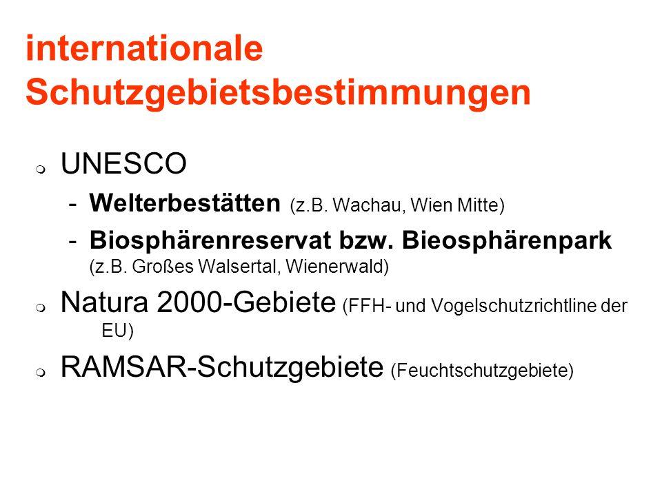 internationale Schutzgebietsbestimmungen UNESCO -Welterbestätten (z.B. Wachau, Wien Mitte) -Biosphärenreservat bzw. Bieosphärenpark (z.B. Großes Walse