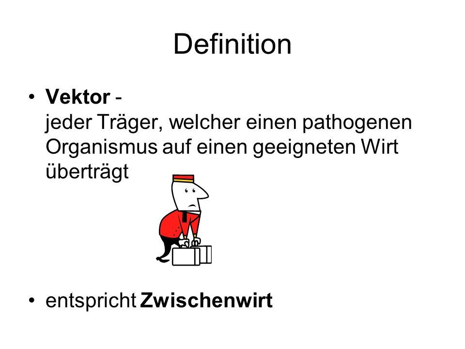 Definition Vektor - jeder Träger, welcher einen pathogenen Organismus auf einen geeigneten Wirt überträgt entspricht Zwischenwirt