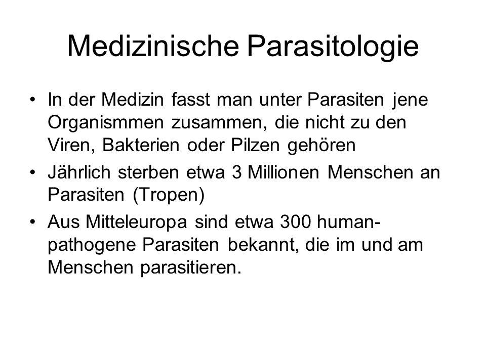 Medizinische Parasitologie In der Medizin fasst man unter Parasiten jene Organismmen zusammen, die nicht zu den Viren, Bakterien oder Pilzen gehören J