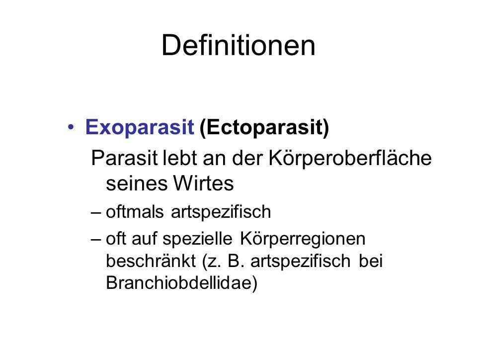 Definitionen Exoparasit (Ectoparasit) Parasit lebt an der Körperoberfläche seines Wirtes –oftmals artspezifisch –oft auf spezielle Körperregionen besc