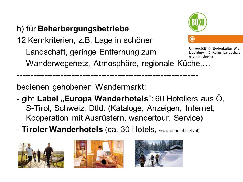 Universität für Bodenkultur Wien Department für Raum, Landschaft und Infrastruktur b) für Beherbergungsbetriebe 12 Kernkriterien, z.B. Lage in schöner