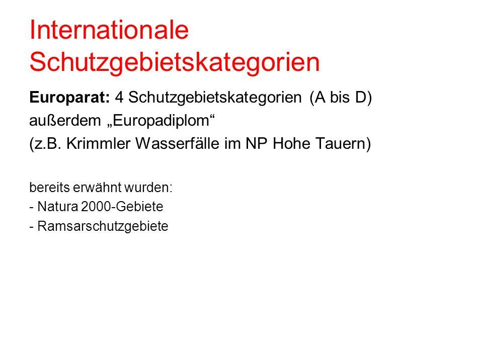 Internationale Schutzgebietskategorien Europarat: 4 Schutzgebietskategorien (A bis D) außerdem Europadiplom (z.B. Krimmler Wasserfälle im NP Hohe Taue