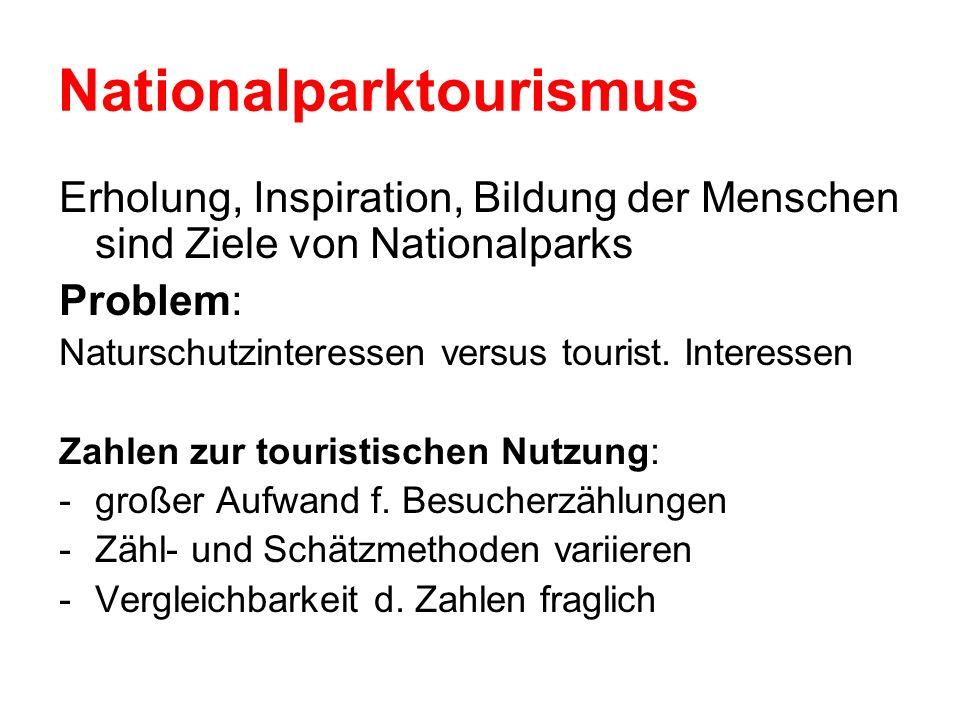 Nationalparktourismus Erholung, Inspiration, Bildung der Menschen sind Ziele von Nationalparks Problem: Naturschutzinteressen versus tourist. Interess