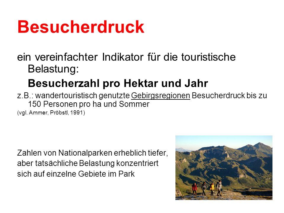 Besucherdruck ein vereinfachter Indikator für die touristische Belastung: Besucherzahl pro Hektar und Jahr z.B.: wandertouristisch genutzte Gebirgsreg