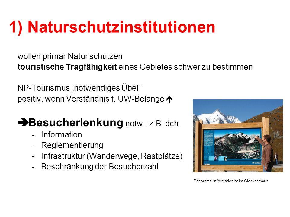 1) Naturschutzinstitutionen wollen primär Natur schützen touristische Tragfähigkeit eines Gebietes schwer zu bestimmen NP-Tourismus notwendiges Übel p