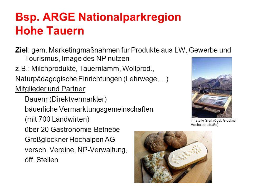 Bsp. ARGE Nationalparkregion Hohe Tauern Ziel: gem. Marketingmaßnahmen für Produkte aus LW, Gewerbe und Tourismus, Image des NP nutzen z.B.: Milchprod