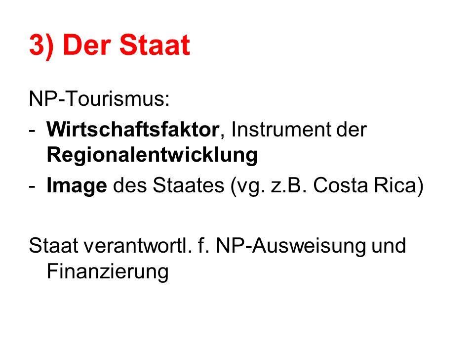3) Der Staat NP-Tourismus: -Wirtschaftsfaktor, Instrument der Regionalentwicklung -Image des Staates (vg. z.B. Costa Rica) Staat verantwortl. f. NP-Au
