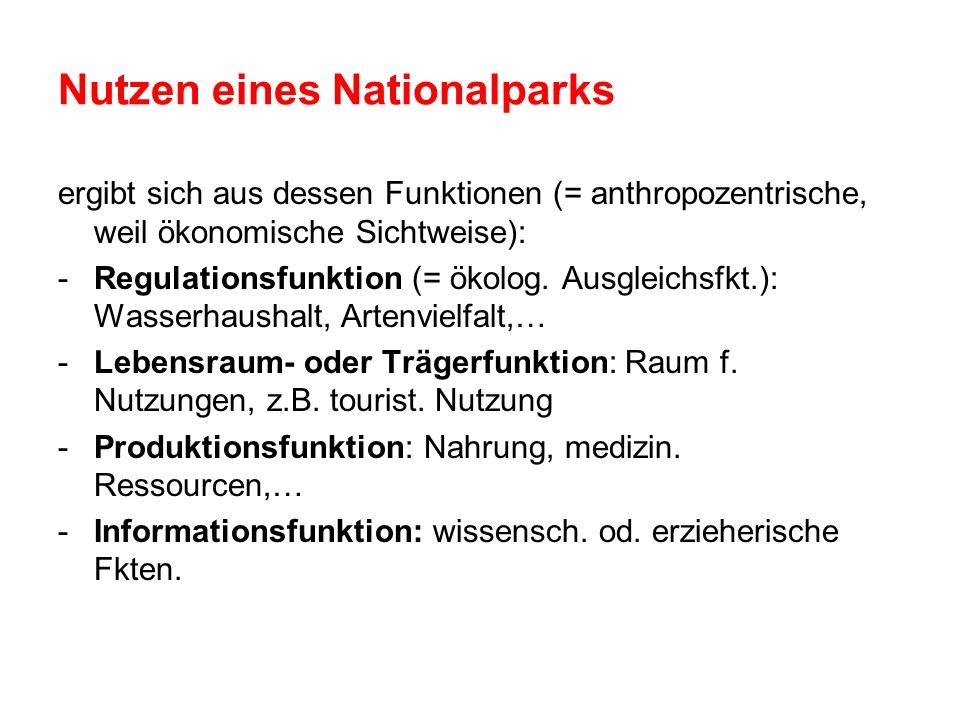 Nutzen eines Nationalparks ergibt sich aus dessen Funktionen (= anthropozentrische, weil ökonomische Sichtweise): -Regulationsfunktion (= ökolog. Ausg