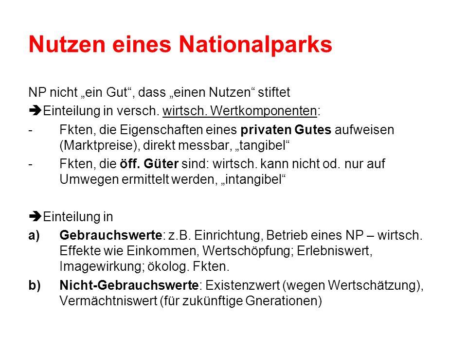 Nutzen eines Nationalparks NP nicht ein Gut, dass einen Nutzen stiftet Einteilung in versch. wirtsch. Wertkomponenten: -Fkten, die Eigenschaften eines