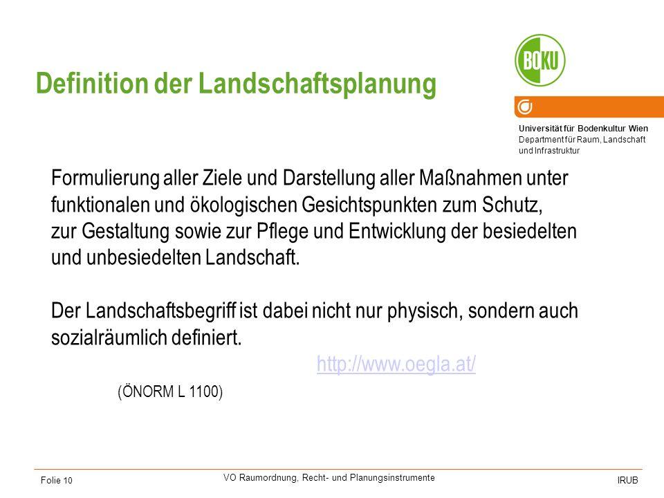 Universität für Bodenkultur Wien Department für Raum, Landschaft und Infrastruktur IRUB VO Raumordnung, Recht- und Planungsinstrumente Folie 10 Formul