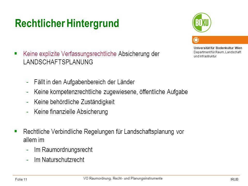 Universität für Bodenkultur Wien Department für Raum, Landschaft und Infrastruktur IRUB VO Raumordnung, Recht- und Planungsinstrumente Folie 11 Rechtl