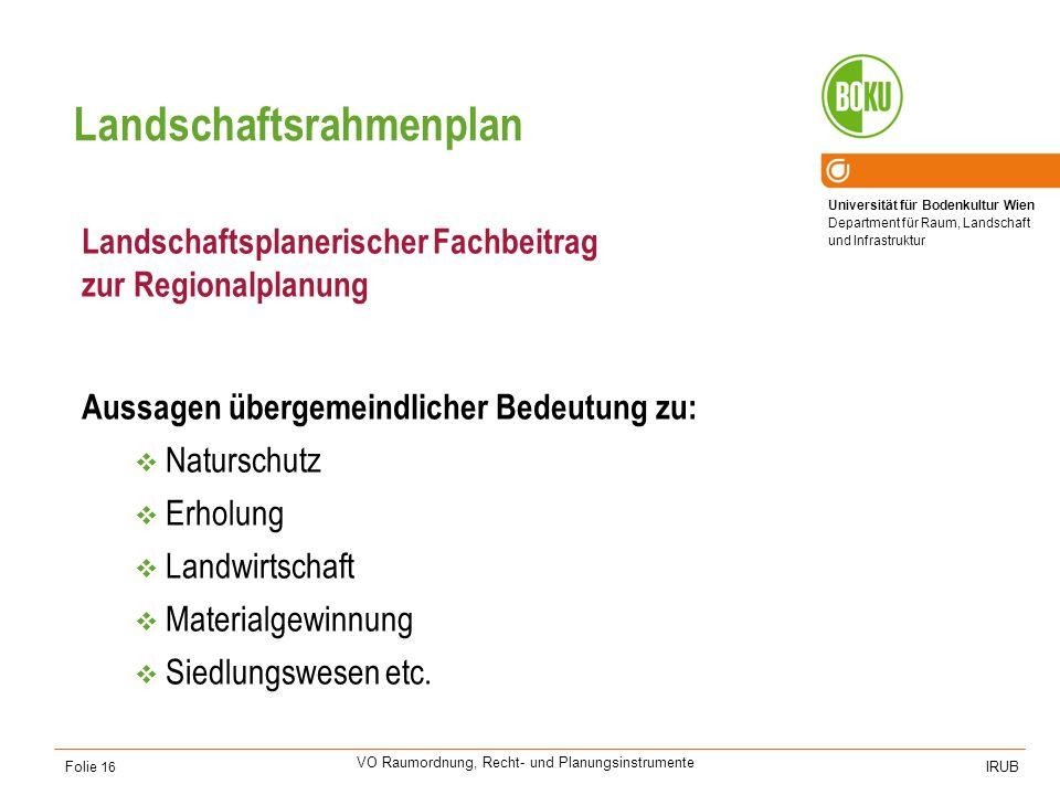 Universität für Bodenkultur Wien Department für Raum, Landschaft und Infrastruktur IRUB VO Raumordnung, Recht- und Planungsinstrumente Folie 16 Landsc