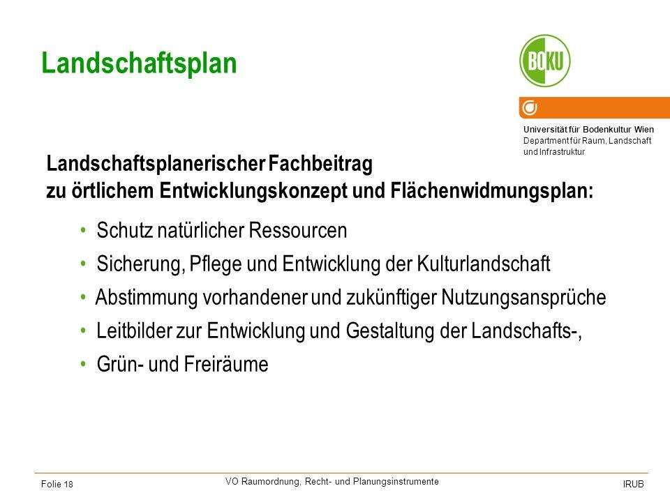 Universität für Bodenkultur Wien Department für Raum, Landschaft und Infrastruktur IRUB VO Raumordnung, Recht- und Planungsinstrumente Folie 18 Landsc