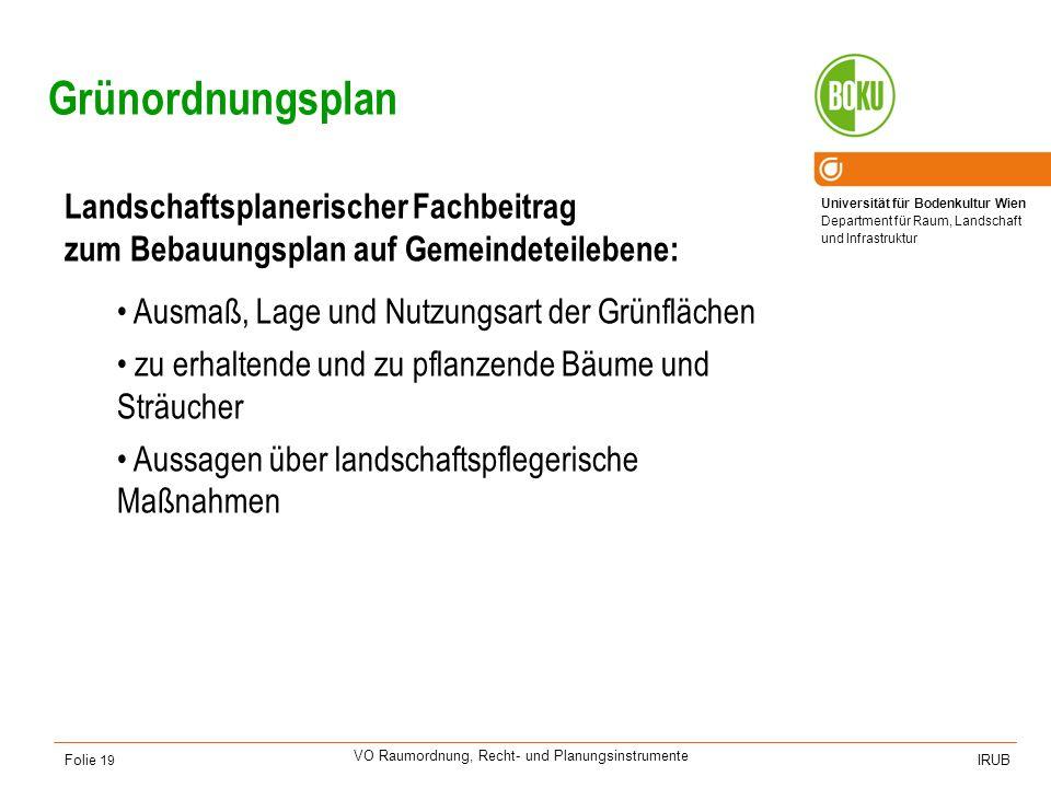 Universität für Bodenkultur Wien Department für Raum, Landschaft und Infrastruktur IRUB VO Raumordnung, Recht- und Planungsinstrumente Folie 19 Grünor
