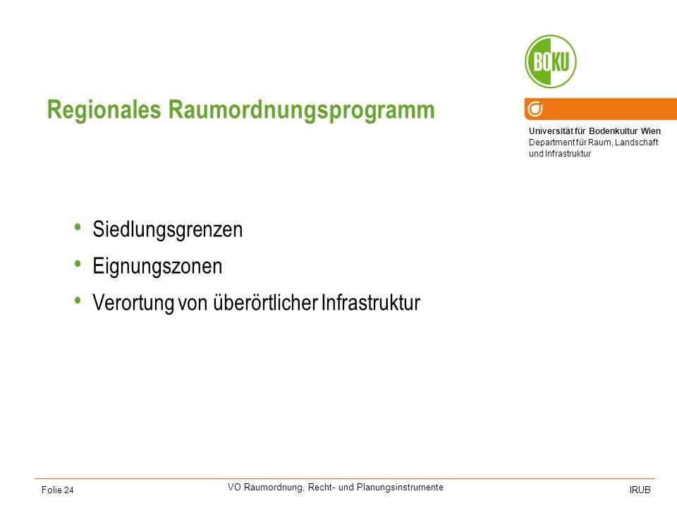 Universität für Bodenkultur Wien Department für Raum, Landschaft und Infrastruktur IRUB VO Raumordnung, Recht- und Planungsinstrumente Folie 24 Region