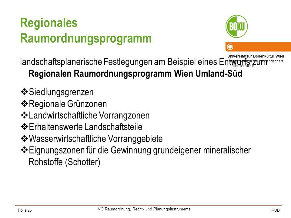 Universität für Bodenkultur Wien Department für Raum, Landschaft und Infrastruktur IRUB VO Raumordnung, Recht- und Planungsinstrumente Folie 25 Region