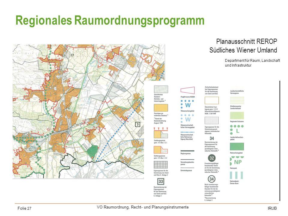 Universität für Bodenkultur Wien Department für Raum, Landschaft und Infrastruktur IRUB VO Raumordnung, Recht- und Planungsinstrumente Folie 27 Region
