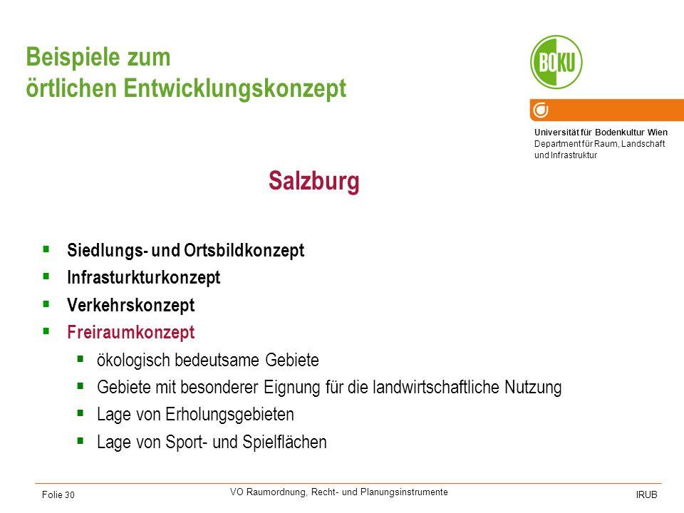 Universität für Bodenkultur Wien Department für Raum, Landschaft und Infrastruktur IRUB VO Raumordnung, Recht- und Planungsinstrumente Folie 30 Beispi