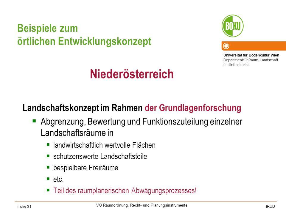 Universität für Bodenkultur Wien Department für Raum, Landschaft und Infrastruktur IRUB VO Raumordnung, Recht- und Planungsinstrumente Folie 31 Beispi