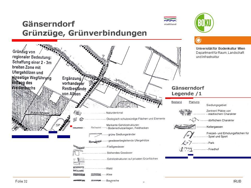 Universität für Bodenkultur Wien Department für Raum, Landschaft und Infrastruktur IRUB VO Raumordnung, Recht- und Planungsinstrumente Folie 32