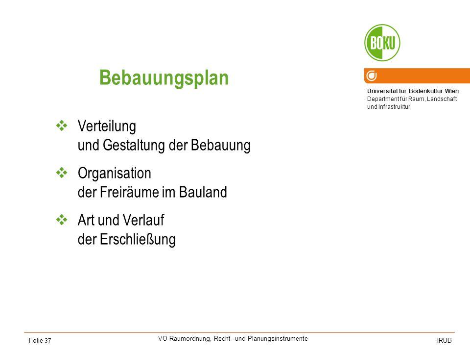 Universität für Bodenkultur Wien Department für Raum, Landschaft und Infrastruktur IRUB VO Raumordnung, Recht- und Planungsinstrumente Folie 37 Bebauu