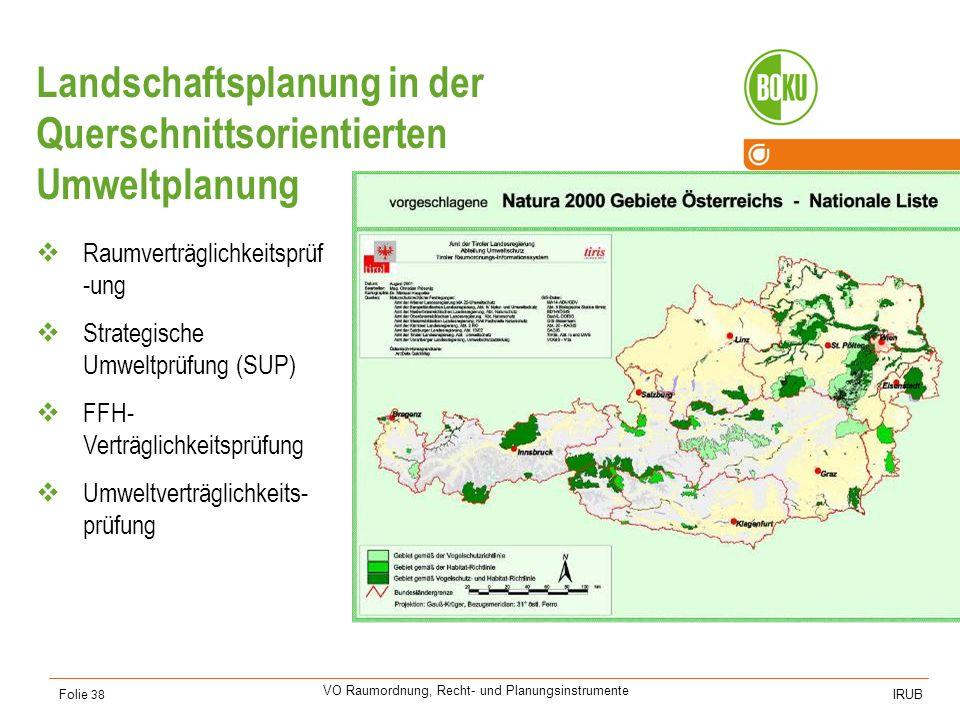 Universität für Bodenkultur Wien Department für Raum, Landschaft und Infrastruktur IRUB VO Raumordnung, Recht- und Planungsinstrumente Folie 38 Landsc