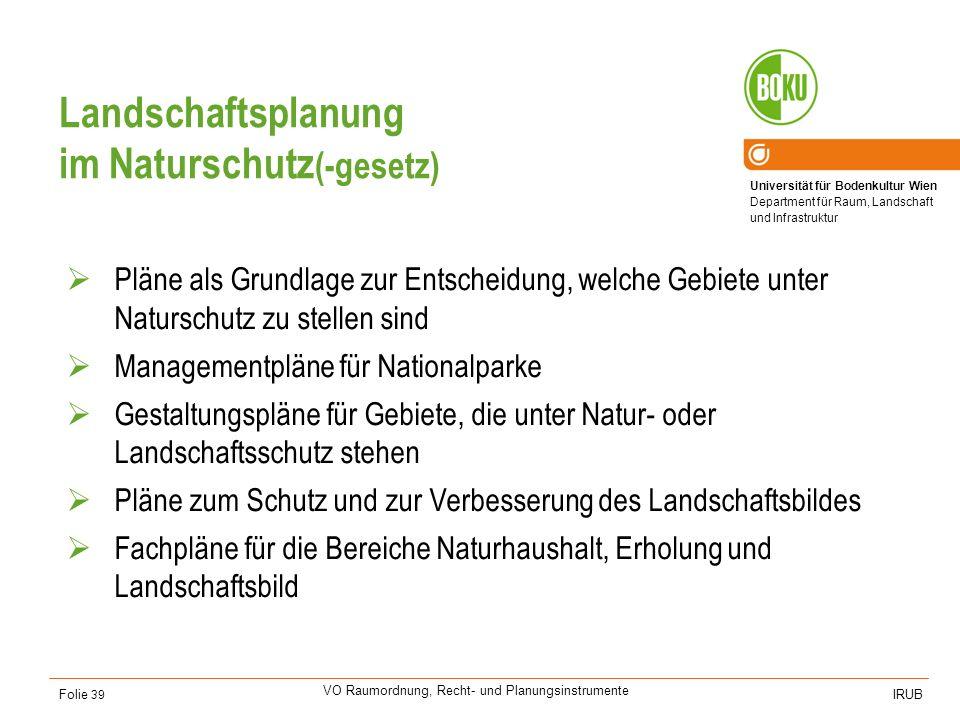 Universität für Bodenkultur Wien Department für Raum, Landschaft und Infrastruktur IRUB VO Raumordnung, Recht- und Planungsinstrumente Folie 39 Landsc