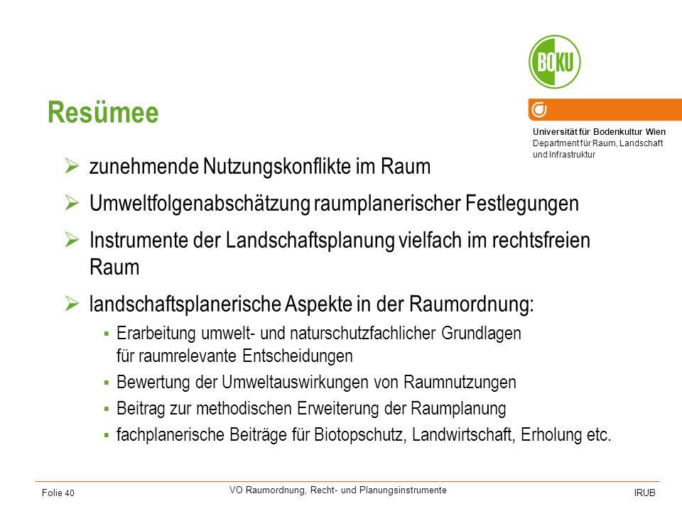 Universität für Bodenkultur Wien Department für Raum, Landschaft und Infrastruktur IRUB VO Raumordnung, Recht- und Planungsinstrumente Folie 40 Resüme